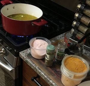 pickle brine boiling with salt and spices