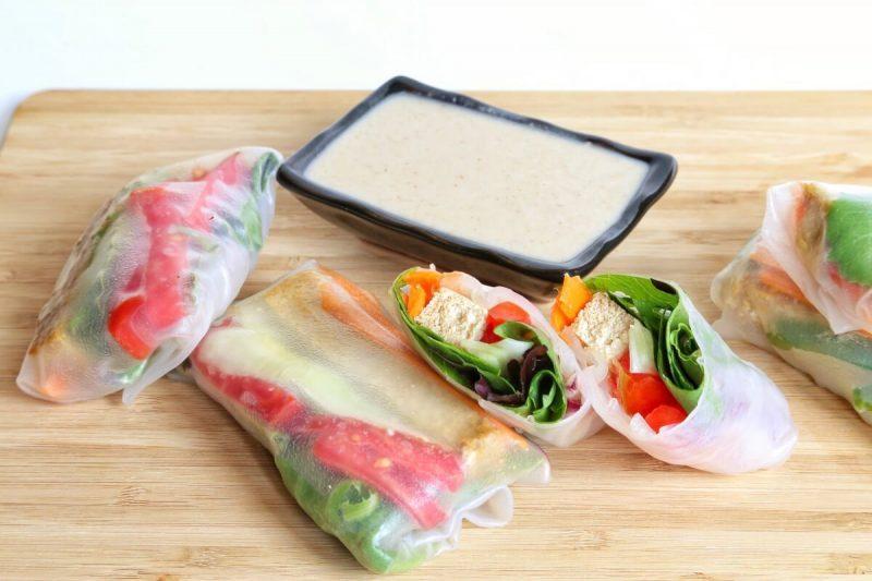 vegan tofu spring rolls with sauce