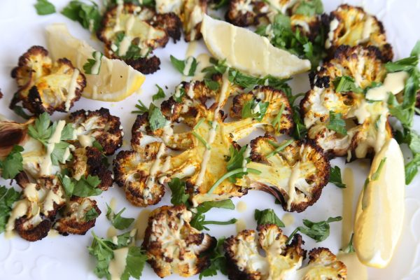 Roasted Cauliflower Steaks with Smoked Cashew Sauce