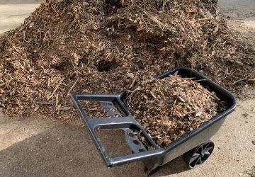 wood chips and wheelbarrow