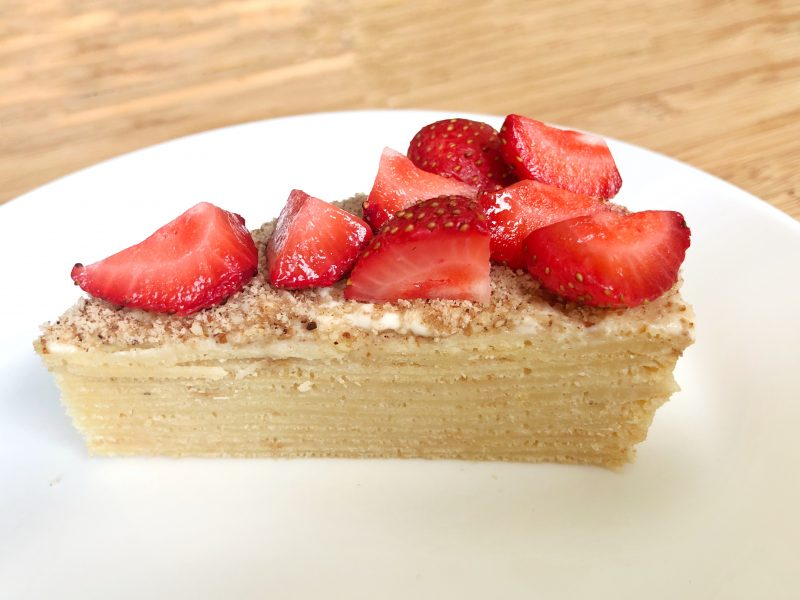 Gluten free crepe cake with strawberries